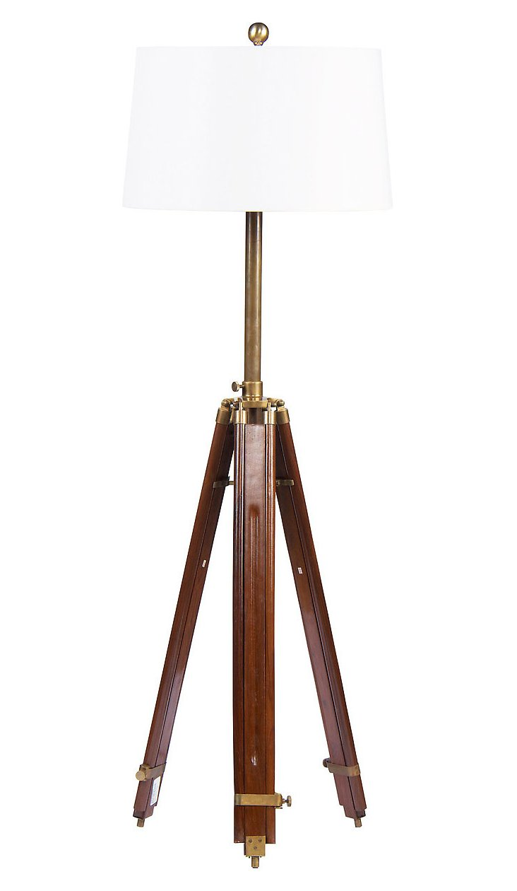 Oracle Tripod Floor Lamp, Walnut
