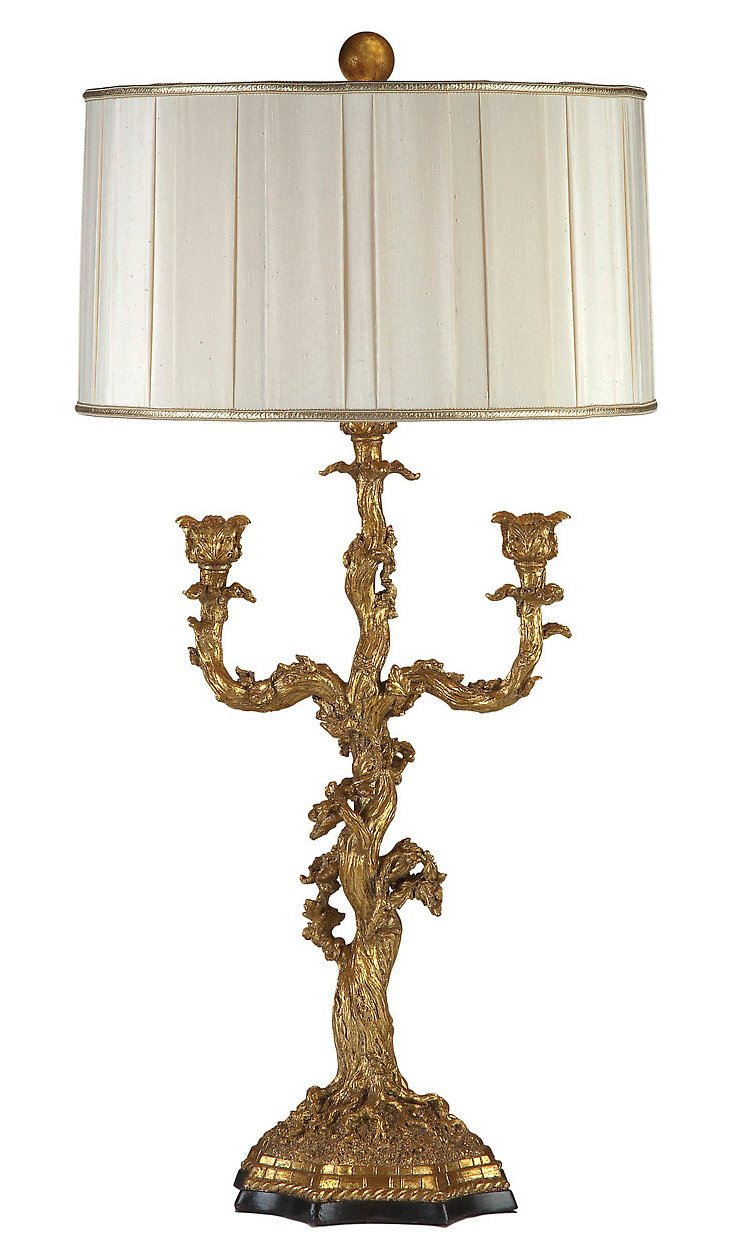 Gilded Branch Table Lamp, Silver Leaf