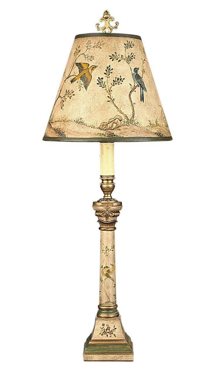 Belle Song Table Lamp, Green/Gold Leaf