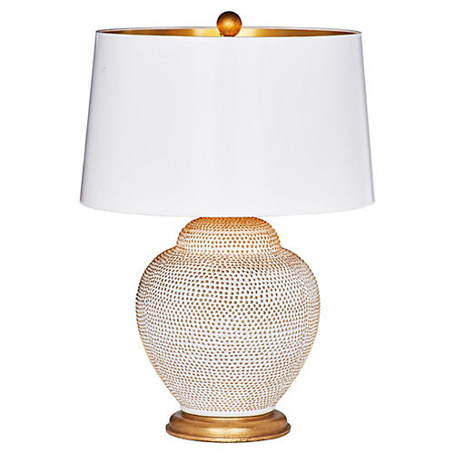 Katrina Couture Table Lamp, Cream/Gold