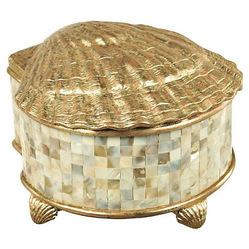 "10"" Gilded Shell Box, White"