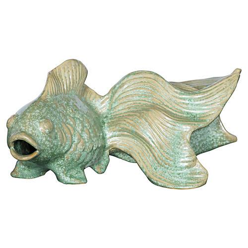 "15"" Koi Fish Figurine, Celadon"
