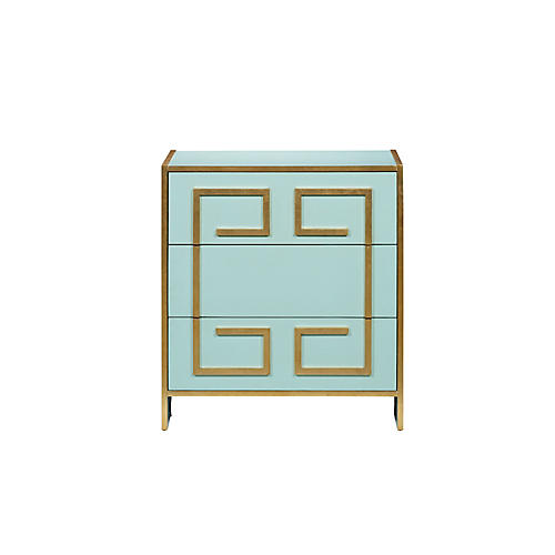 St. Mortiz Greek Key Dresser, Aqua/Gold