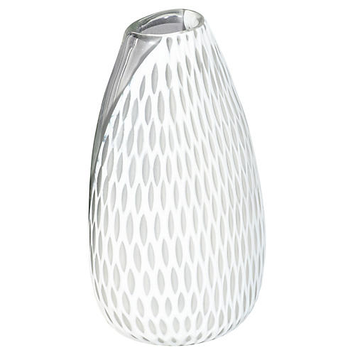 "11"" Marilyn Oval Vase, White"