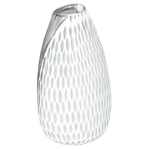 "11"" Marilyn Oval Vase, White"