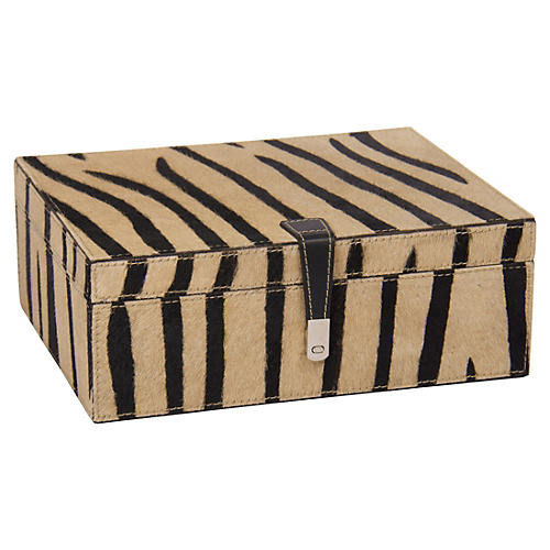 "11"" Zebra-Print Hide Box, Cream"