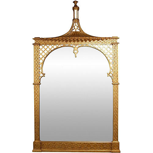 "Paris 35""x61"" Floor Mirror, Antiqued Gold"