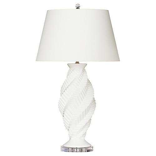 Evelyn Table Lamp, Cream Glaze