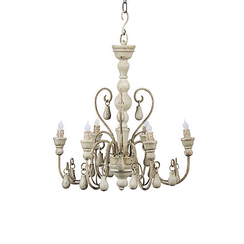 Camenere Chandelier, Antiqued Cream