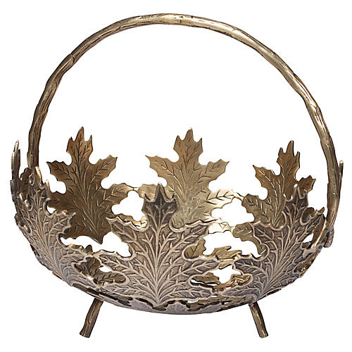 "11"" Maple Leaf Planter, Antiqued Brass"