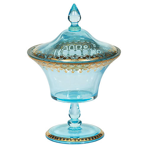 "10"" Pedestal Bowl, Transparent Blue/Gold"