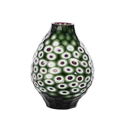 "10"" Decorative Vase, Emerald/White/Lilac"