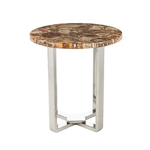 Bonner Agate Side Table, Nickel/Brown