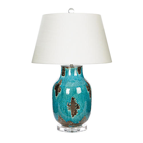 Cajon Table Lamp, Teal/Bronze