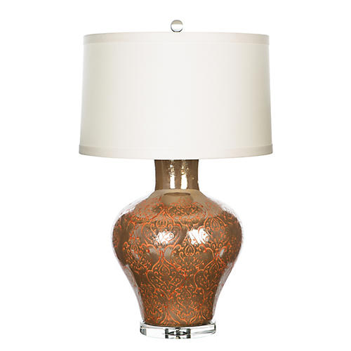 Egan Table Lamp, Mocha/Orange