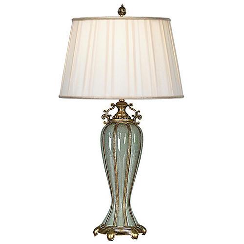 Adele Table Lamp, Celadon/Gold
