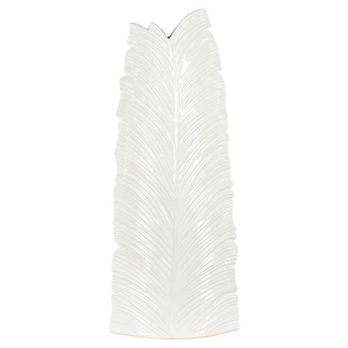 Leaf Large Floor Vase, White