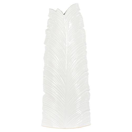 Leaf Large Floor Vase, White