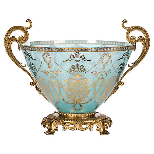 "14"" Ares Decorative Bowl, Blue/Gold"