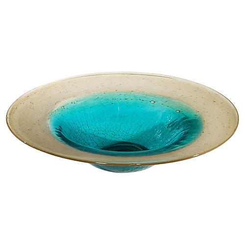 "16"" Bast Decorative Bowl, Gold/Aqua"