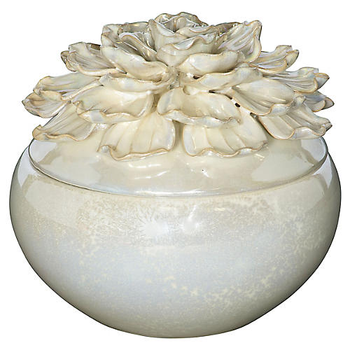 "7"" Flower Wide Jar, Pearl"