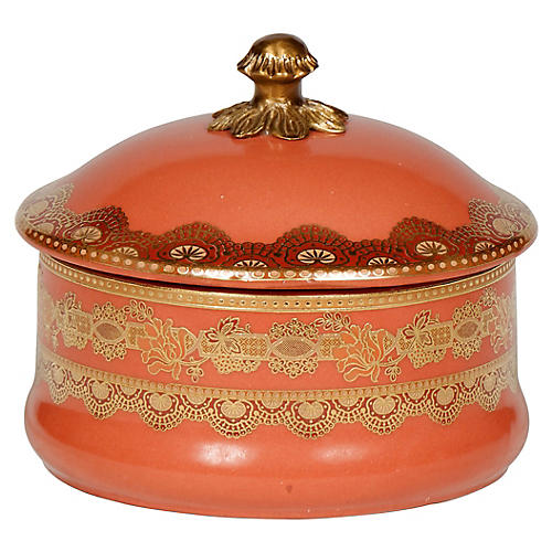 "7"" Geras Finial Box, Tangerine/Gold"
