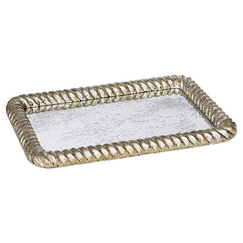 "20"" Rope Decorative Tray, Silver"