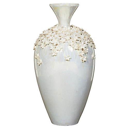"22"" Scattered Flowers Vase, Pearl"