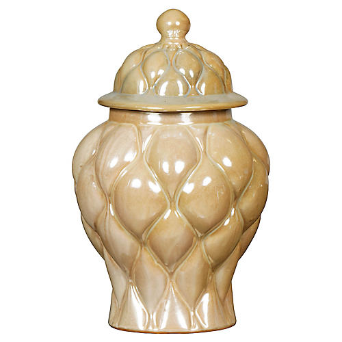 "14"" Tufted Temple Jar, Beige"