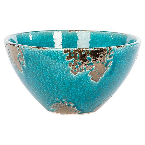 "35"" Globe Bowl, Teal/Bronze"