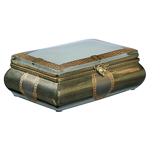 "7"" Verona Rectangular Box, Blue/Gold"