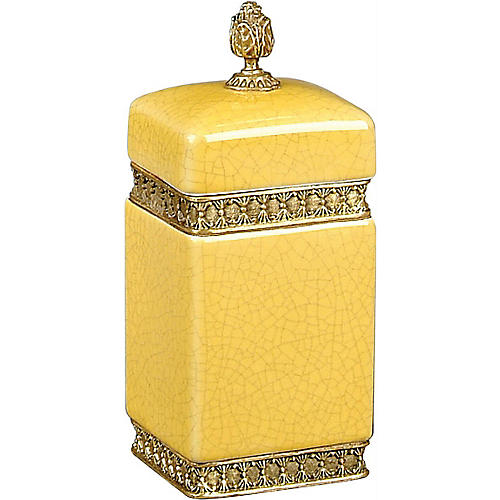 """8"""" Finial Crackle Canister, Yellow/Gold"""
