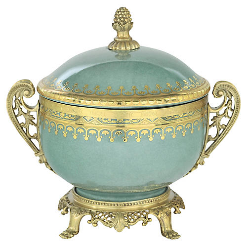 "9"" Cadmus Box, Celadon/Gold"