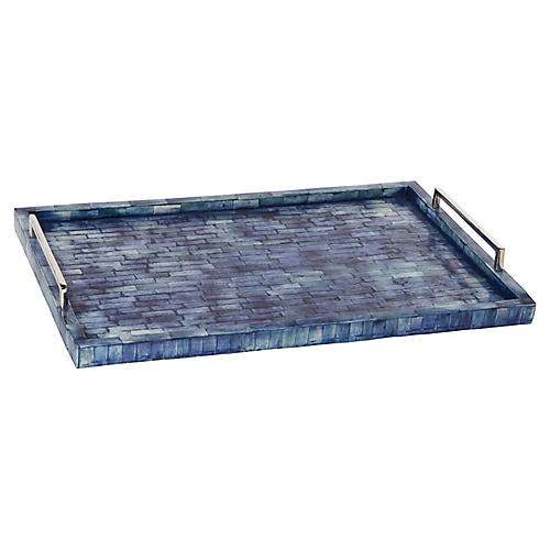 "24"" Brick Bone Tray, Blue/Nickel"
