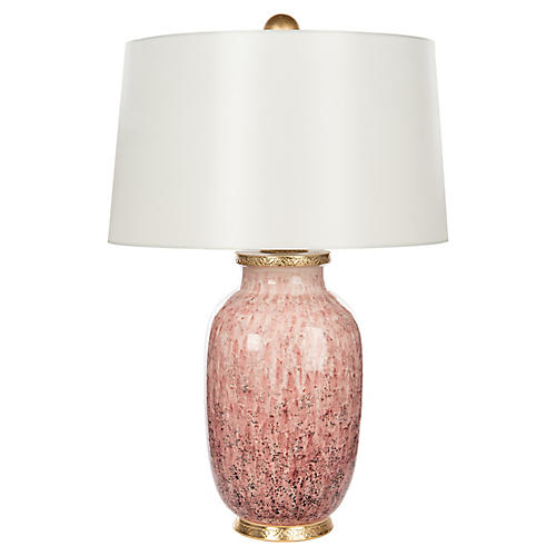 Veranda Table Lamp, Soft Pink/Gold