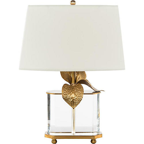 Cattleya Crystal Table Lamp, Clear/Brass