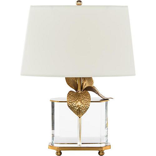 Cattleya Crystal Table Lamp, Clear/Brass