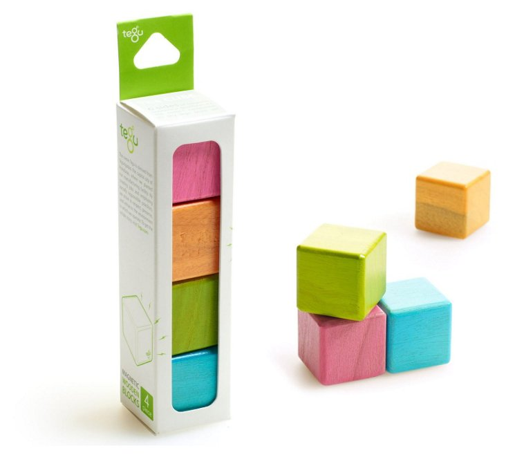 4-Piece Magnetic Wooden Blocks, Tints