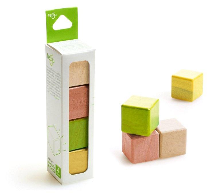 4-Piece Magnetic Wooden Blocks, Jungle