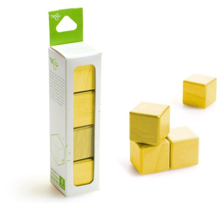 4-Piece Magnetic Wooden Blocks, Yellow