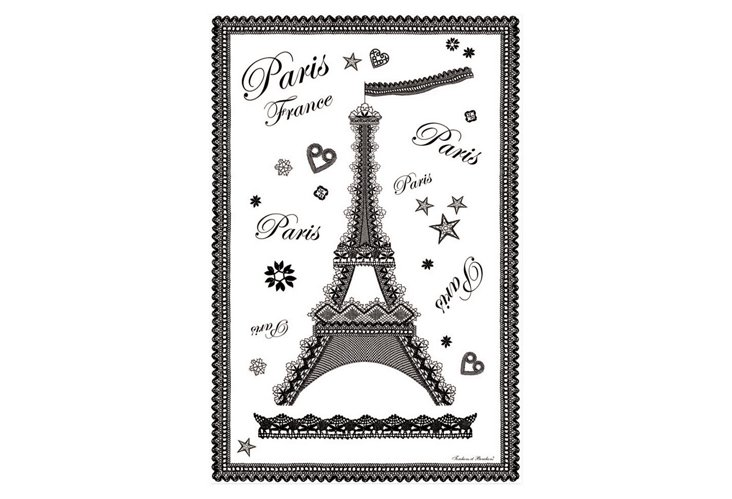 S/2 Tea Towels, Eiffel Dentelle