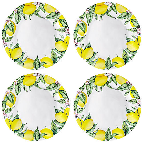 S/4 Limonata Melamine Dinner Plates, Yellow