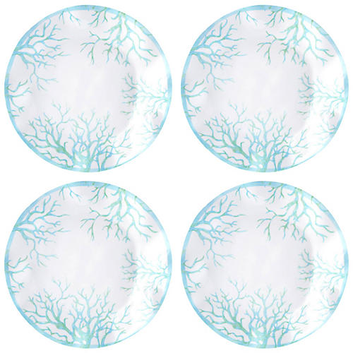 S/4 Captiva Melamine Dinner Plates, Teal