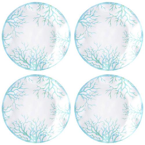 S/4 Captiva Melamine Dinner Plates, Teal