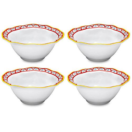 S/4 Porto Chalé Melamine Bowls, Red