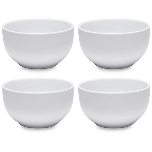 S/4 Melamine Diamond Round Cereal Bowls, White