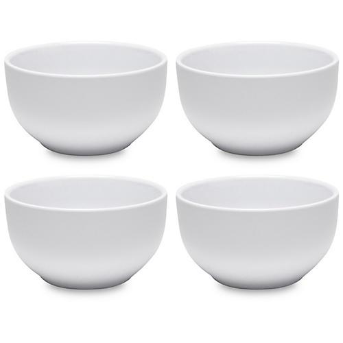 S/4 Diamond Round Melamine Cereal Bowls, White