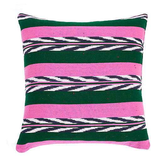Palm 20x20 Pillow, Green/Pink