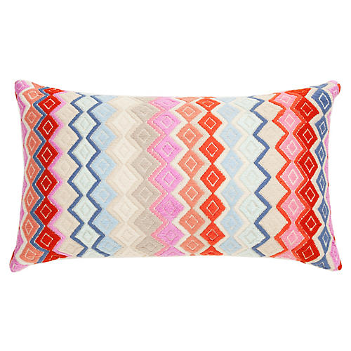 San Pedro 12x20 Lumbar Pillow, Pink/Multi