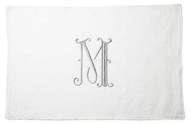 French Monogram Bath Mat, Platinum/White
